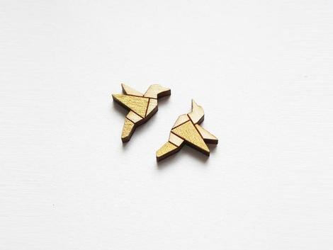 ALIZI PLAYWOOD  - náušnice - bird - gold / pure